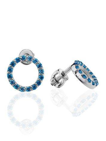 Round Silver Studs With Blue Crystals The Aurora, image
