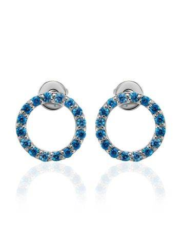 Round Silver Studs With Blue Crystals The Aurora, image , picture 3