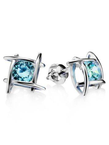 Silver Studs With Light Blue Crystals The Aurora, image