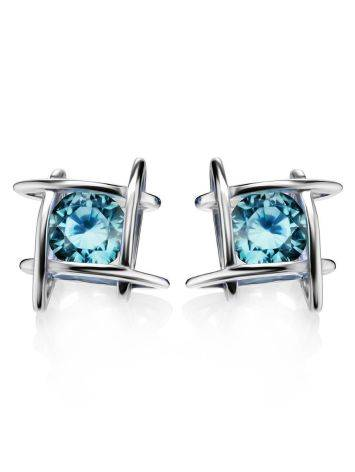 Silver Studs With Light Blue Crystals The Aurora, image , picture 3