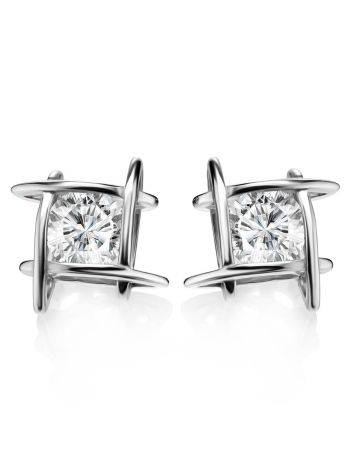 Silver Studs With White Crystals The Aurora, image , picture 4