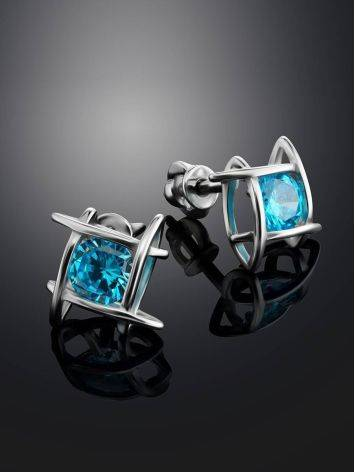 Silver Studs With Light Blue Crystals The Aurora, image , picture 2