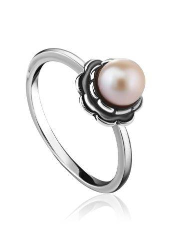 Cute Silver Ring With Mauve Colored Cultured Pearl The Serene, Ring Size: 8 / 18, image