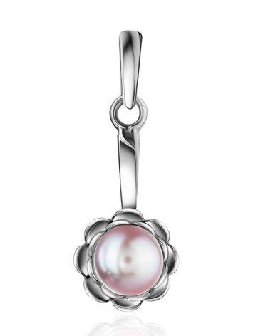 Cute Silver Pendant With Mauve Colored Cultured Pearl The Serene Collection, image
