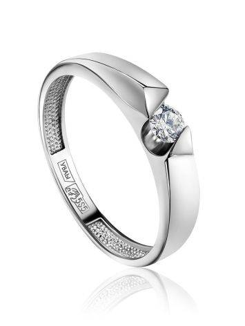 White Gold Ring With Solitaire Diamond, Ring Size: 6.5 / 17, image