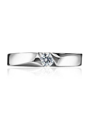 White Gold Ring With Solitaire Diamond, Ring Size: 6.5 / 17, image , picture 3