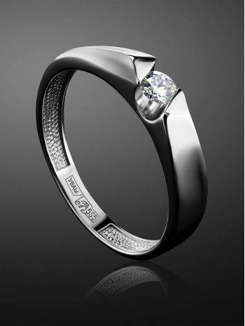 White Gold Ring With Solitaire Diamond, Ring Size: 6.5 / 17, image , picture 2