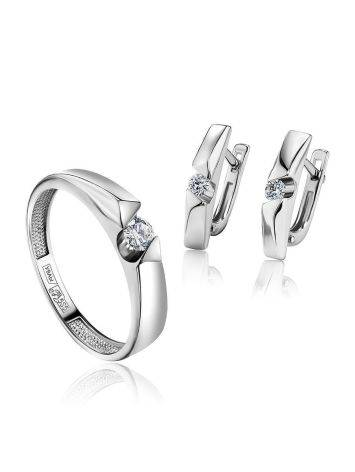 White Gold Ring With Solitaire Diamond, Ring Size: 6.5 / 17, image , picture 4