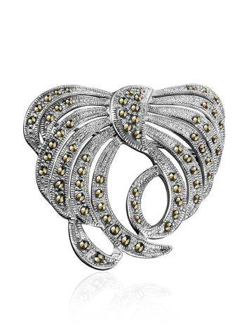 Bold Silver Brooch With Marcasites The Lace, image