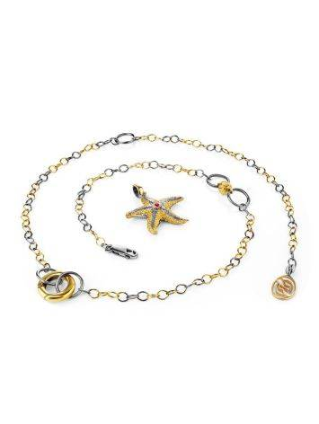 Gold Plated Necklace With Star Shaped Pendant, image , picture 4