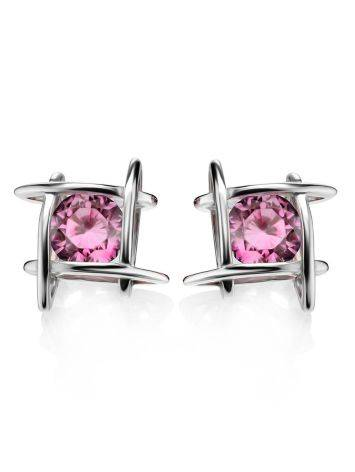 Silver Stud Earrings With Pink Crystals The Aurora, image , picture 3