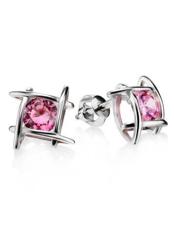 Silver Stud Earrings With Pink Crystals The Aurora, image