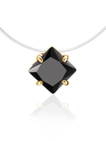 Invisible Line Necklace With Black Square Crystal The Aurora, image
