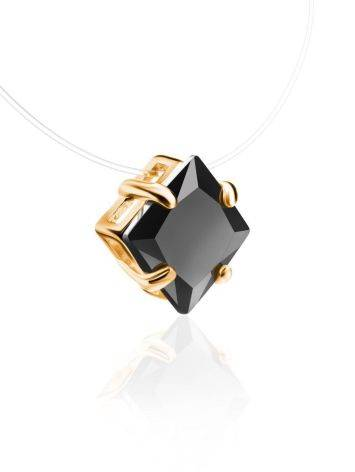 Invisible Line Necklace With Black Square Crystal The Aurora, image , picture 3
