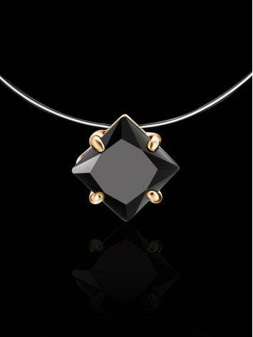Invisible Line Necklace With Black Square Crystal The Aurora, image , picture 2