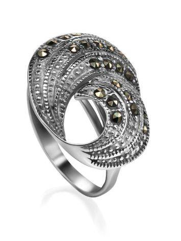 Silver Cocktail Ring With Marcasites The Lace, Ring Size: 8.5 / 18.5, image