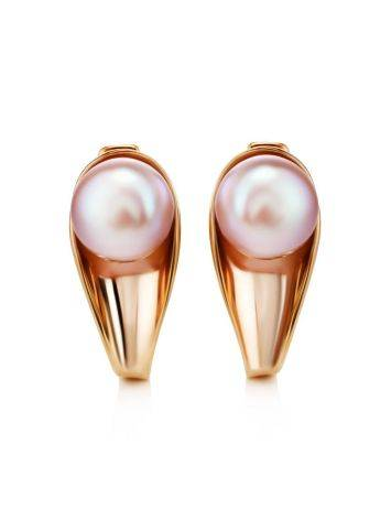 Gold-Plated Earrings With Creamrose Cultured Pearl The Serene, image , picture 3