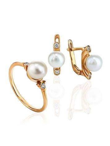 Gold-Plated Ring With Cultured Pearl And Crystals The Themis, Ring Size: 8.5 / 18.5, image , picture 4