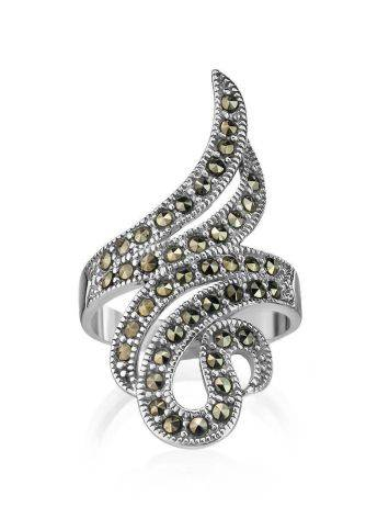 Snake Design Silver Ring With Marcasites The Lace, Ring Size: 6.5 / 17, image