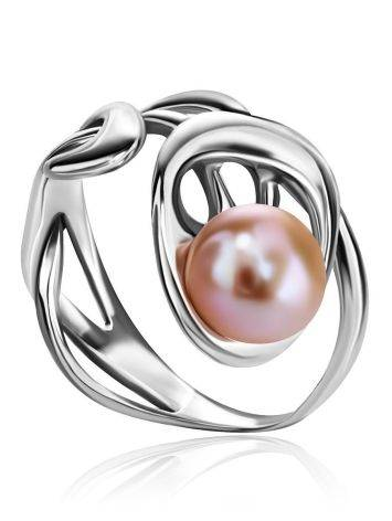 Ornate Silver Ring With Creamrose Cultured Pearl The Serene, Ring Size: 6 / 16.5, image , picture 2