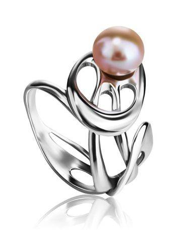 Ornate Silver Ring With Creamrose Cultured Pearl The Serene, Ring Size: 6 / 16.5, image