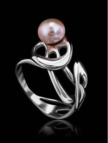 Ornate Silver Ring With Creamrose Cultured Pearl The Serene, Ring Size: 6 / 16.5, image , picture 3