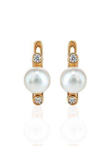 Gold Plated Earrings With Cultured Pearl And Crystals The Themis, image , picture 3