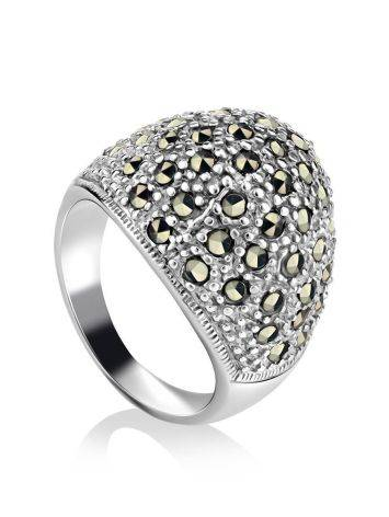Marcasite Encrusted Ring In Sterling Silver The Lace, Ring Size: 8 / 18, image