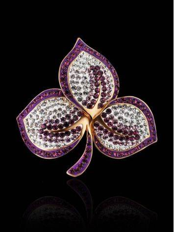 Gold Plated Floral Pendant With Purple And White Crystals The Jungle, image , picture 2