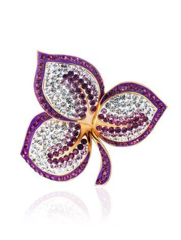 Gold Plated Floral Pendant With Purple And White Crystals The Jungle, image