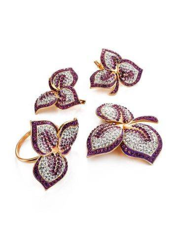 Gold Plated Floral Pendant With Purple And White Crystals The Jungle, image , picture 5