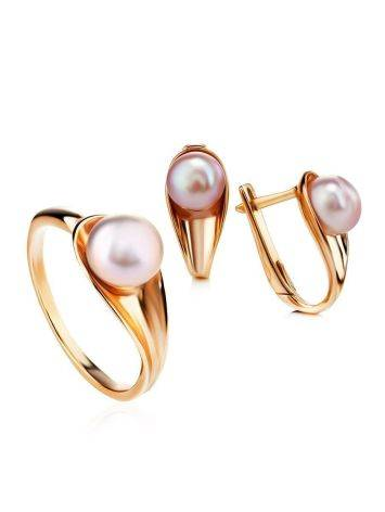 Gold-Plated Earrings With Creamrose Cultured Pearl The Serene, image , picture 4