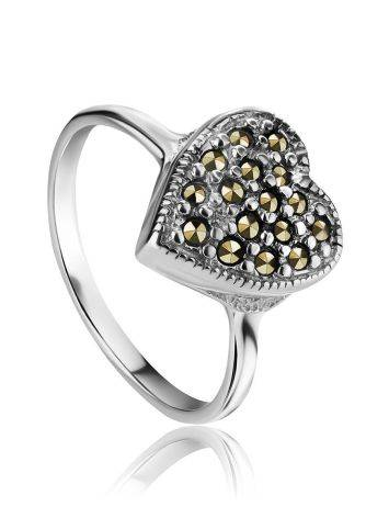 Silver Heart Shape Ring with Marcasites The Lace, Ring Size: 6.5 / 17, image