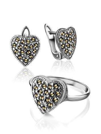 Silver Heart Shape Ring with Marcasites The Lace, Ring Size: 6.5 / 17, image , picture 4