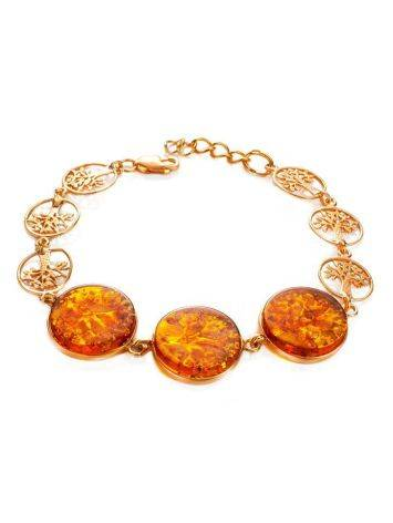 Amazing Symbolic Gift The Tree Of Life Bracelet Made in Amber And Gold-Plated Silver, image