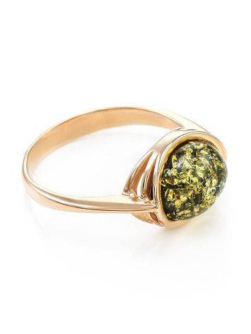Golden Ring With Green Amber Centerstone The Amigo, Ring Size: 6 / 16.5, image