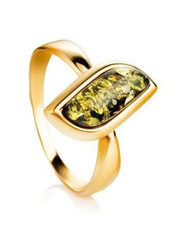 Green Amber Golden Ring, Ring Size: 8.5 / 18.5, image