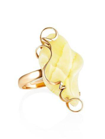 Natural Cloudy Amber Golden Ring The Rialto, Ring Size: Adjustable, image