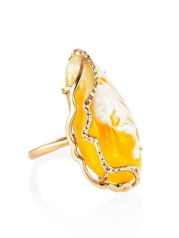 Golden Amber Cocktail Ring The Triumph, Ring Size: Adjustable, image