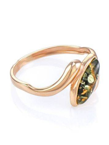Natural Green Amber Ring In Gold, Ring Size: 6.5 / 17, image