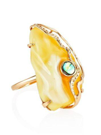 Golden Amber Adjustable Ring With Nacre The Atlantis, Ring Size: Adjustable, image