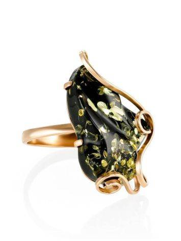 Golden Cocktail Ring With Green Amber The Rialto, Ring Size: Adjustable, image