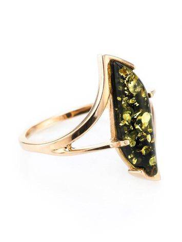 Golden Ring With Bright Green Amber The Vesta, Ring Size: 6.5 / 17, image
