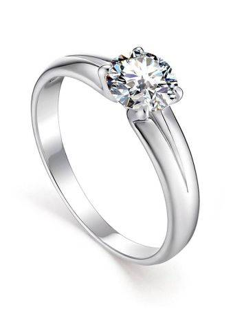 Solitaire Crystal Ring In Sterling Silver, Ring Size: 8.5 / 18.5, image