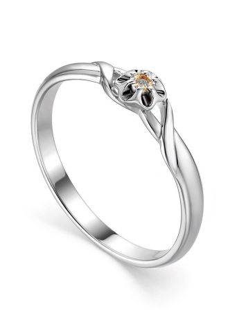 Silver And Gold Ring With Diamond Centerpiece, Ring Size: 6 / 16.5, image