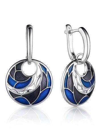Silver Enamel Dangle Earrings, image