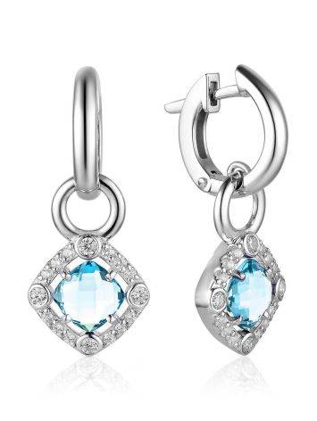 Silver Dangles With Synthetic Topaz Centerstones And Crystals, image