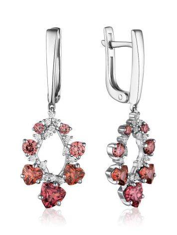 Silver Dangles With Purple And White Crystals, image