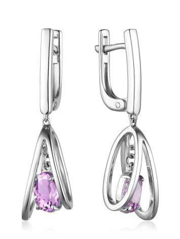 Stylish Silver Dangles With Amethyst, image