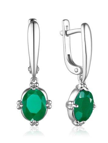 Silver Dangles With Agate Centerstones, image